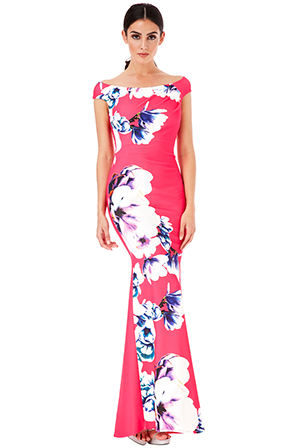 Wholesale-Floral-Print-Maxi-Dress-with-Pleating-Detail