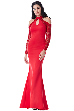 Wholesale Halter Neck Cut Out Maxi Dress with Lace Sleeves