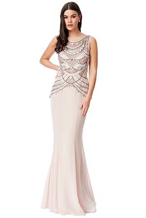 Wholesale-Embellished-Bodice-Chiffon-Maxi-Dress