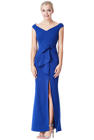 Wholesale-Bow-Detail-Maxi-Dress-with-Split