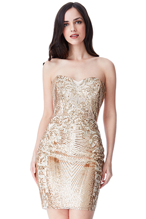 Wholesale-Sweetheart-Neckline-Sequin-Embroidered-Mini-Dress
