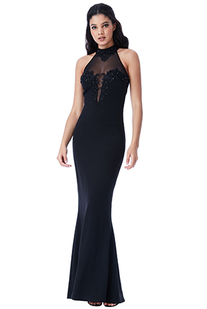 Wholesale-Halter-Neck-Maxi-Dress-with-Embellished-Mesh-Detail