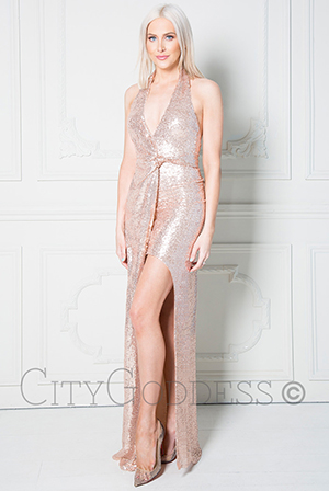 Wholesale-Stephanie-Pratt-Halter-Neck-Sequin-Maxi-Dress-with-Split-Detail