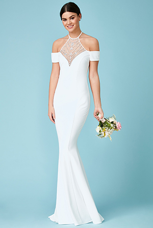 Wholesale-Embellished-Halter-Neck-Cold-Shoulder-Wedding-Maxi-Dress