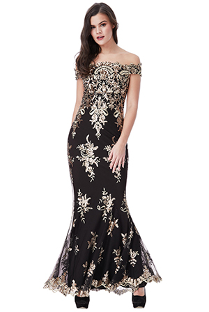 Wholesale-Bardot-Sequin-Embroidered-Maxi-Dress