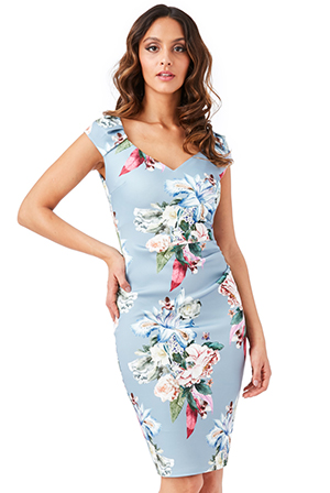 Wholesale-Sweetheart-Neckline-Floral-Midi-Dress_5