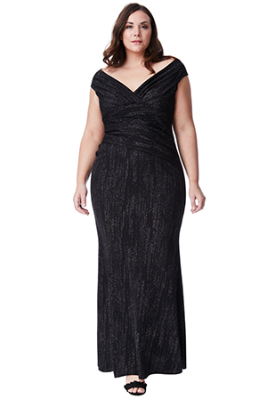 Wholesale-Plus-Size-Glitter-Maxi-Dress-with-Pleated-Waist