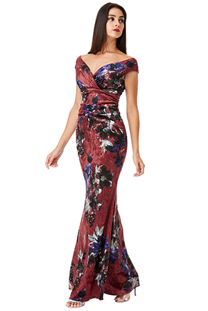 Wholesale Bardot Velvet Floral Print Maxi Dress