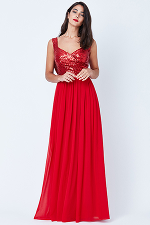 Wholesale-Cowl-Back-Sequin-and-Chiffon-Maxi-Dress