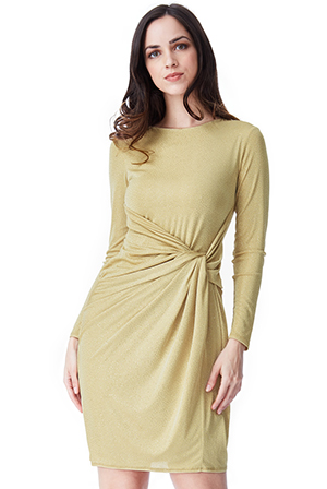 Wholesale-Front-Knot-Glitter-Midi-Dress-with-Sleeves