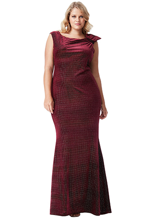 Wholesale-Plus-Size-Glitter-Velvet-Maxi-Dress-with-Bow-Detail