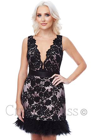 Wholesale-Stephanie-Pratt-Embroidered-Mini-Dress-with-Feather-Hem