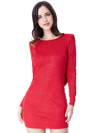 Wholesale-Glitter-Cowl-Back-Mini-Dress-with-Sleeves