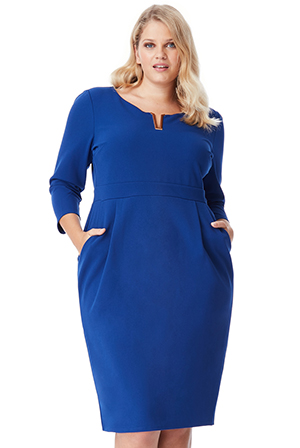 Wholesale-Plus-Size-Three-Quarter-Sleeved-Midi-Dress-with-Metal-Detail