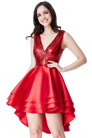 Wholesale-Multilayered-Sequin-and-Satin-Skater-Dress