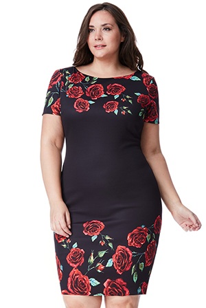 Wholesale-Plus-Size-Rose-Print-Midi-Dress