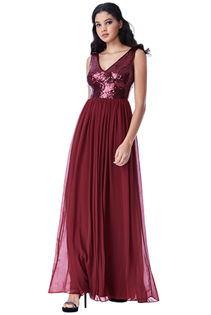 Wholesale-V-Neck-Sequin-and-Chiffon-Maxi-Dress-v2