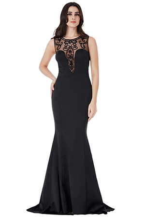 Wholesale-Maxi-Dress-With-Embellished-Mesh-Back-and-Frills