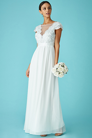 Wholesale-Embroidered-Bodice-Wedding-Maxi-Dress-with-Cap-Sleeves