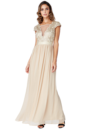 Wholesale-Embroidered-Bodice-Maxi-Dress-with-Cap-Sleeves