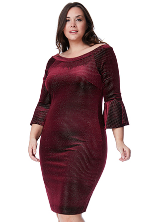 Wholesale-Plus-Size-Glitter-Velvet-Midi-Dress-with-Bell-Sleeves