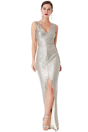Wholesale-Sequin-Maxi-Dress-With-Front-Split