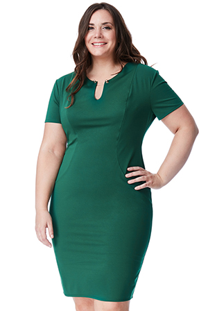 Wholesale-Plus-Size-Fitted-Midi-Dress-with-Metal-Bar-Detail