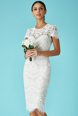 Wholesale-Cap-Sleeves-Lace-Midi-Wedding-Dress