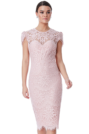 Wholesale-Cap-Sleeves-Lace-Midi-Dress
