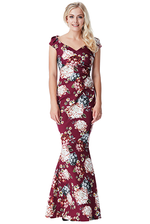 Wholesale-Floral-Print-Maxi-Dress-with-Pleating-Detail_2