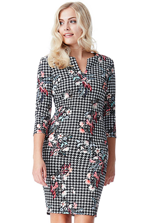 Wholesale-Three-Quarter-Sleeved-Multi-Print-Midi-Dress