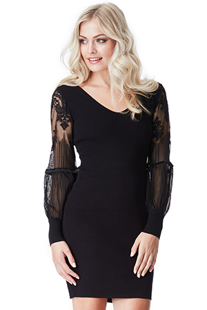 Wholesale-Lace-Bell-Sleeved-Bodycon-Dress