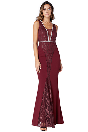Wholesale-V-Neck-Panel-Maxi-Dress