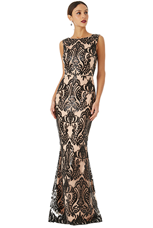 Wholesale-Sleeveless-Sequin-Embroidered-Maxi-Dress