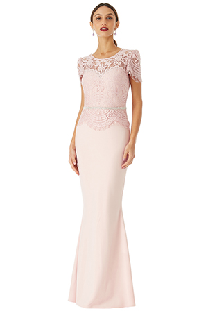 Wholesale-Lace-Bodice-Maxi-Dress-with-Cap-Sleeves