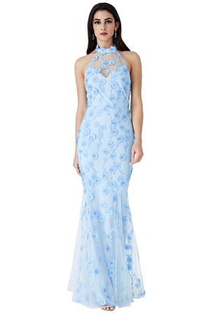 Wholesale-Halter-Neck-Tulle-Embroidered-Maxi-Dress