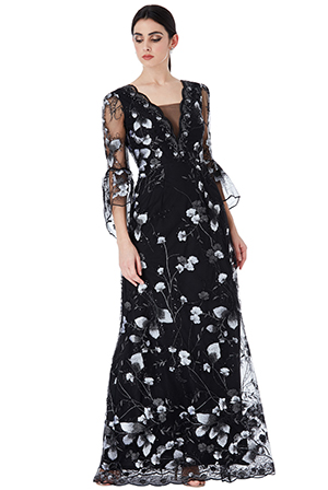 Wholesale-Embroidered-Tulle-Maxi-Dress-with-Flared-Sleeves
