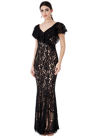 Wholesale-Lace-Maxi-Dress-with-Frilled-V-Neckline