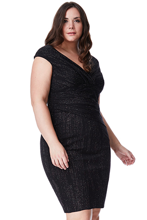 Wholesale Plus Size Glitter Midi Dress with Pleated Waist