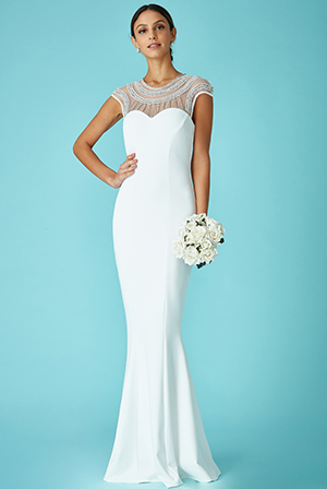 Wholesale-Fishtail-Maxi-Dress-With-Embellished-Neckline-Wedding-Dress