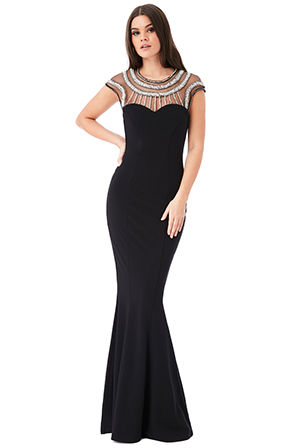 Wholesale-Fishtail-Maxi-Dress-With-Embellished-Neckline