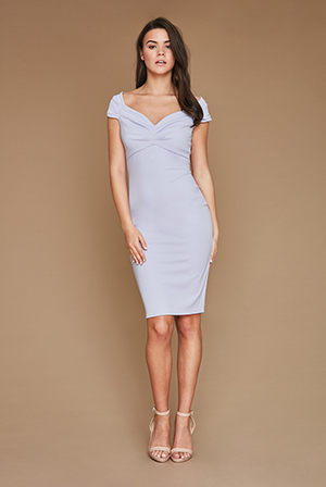 Wholesale-Fitted-Off-The-Shoulder-Midi-Dress