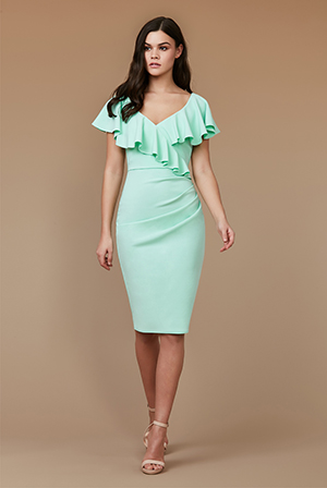 Wholesale-Frilled-V-Neckline-Midi-Dress