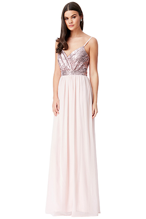Wholesale-Strappy-Sequin-and-Chiffon-Maxi-Dress