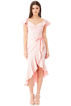 Wholesale-Asymmetric-Frilled-Hem-Midi-Dress
