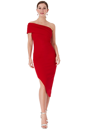 Wholesale-One-Shoulder-Bodycon-Asymmetric-Dress