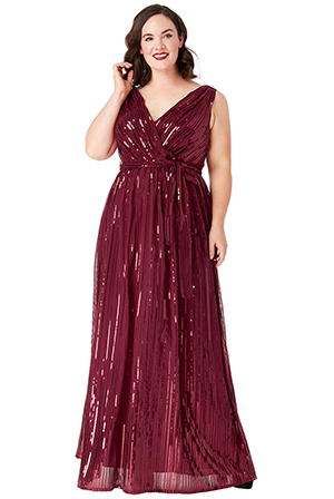 Wholesale-Plus-Size-Sequined-Chiffon-Maxi-Dress-With-Belt