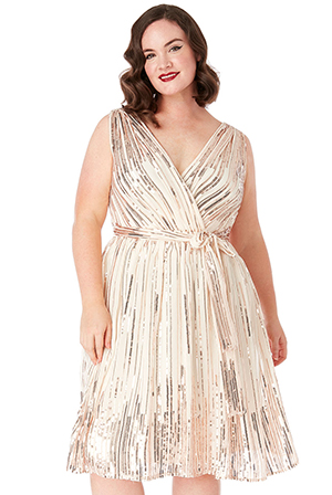 Wholesale-Plus-Size-Sequined-Chiffon-Skater-Dress-With-Belt