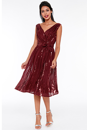 Wholesale-Sequined-Chiffon-Skater-Dress-With-Belt