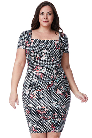 Wholesale-Plus-Size-Multi-Print-Midi-Dress-with-Pleating-Detail